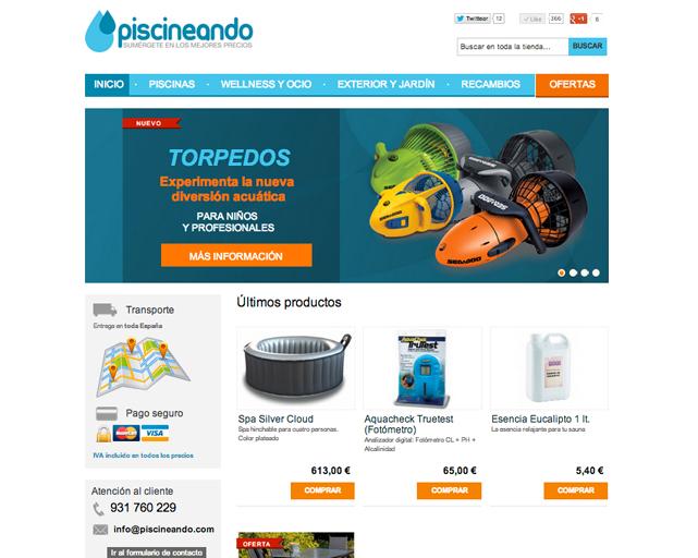Web de Piscineando.com una tienda online de piscinas