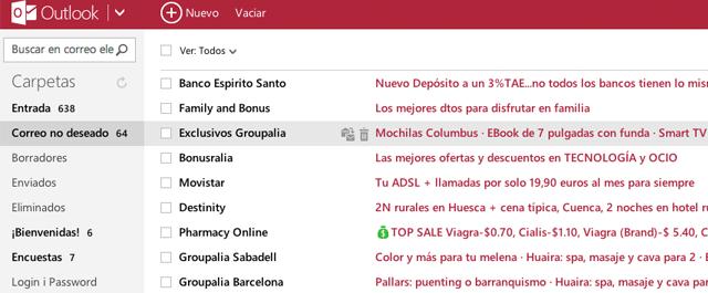 Publicidad en Internet - Bandeja de Entrada de Outlook